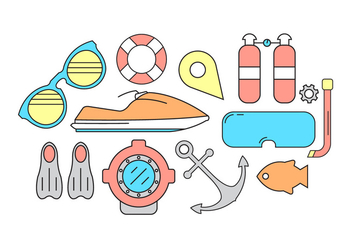 Jet Ski and Scuba Vector Icons - Free vector #396393