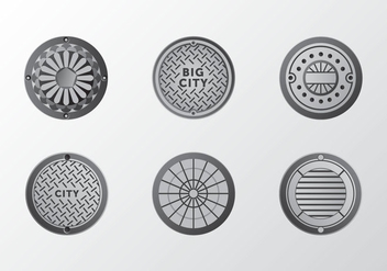 Metal gradient Manhole ornament vector pack - бесплатный vector #396423