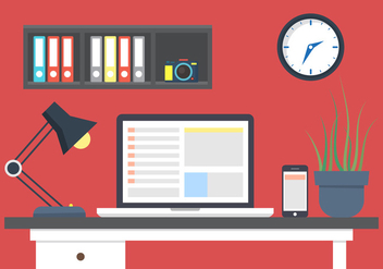 Office Desk Vector - Free vector #396563