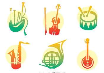 Colorful Music Instrument Vector Set - Kostenloses vector #396693
