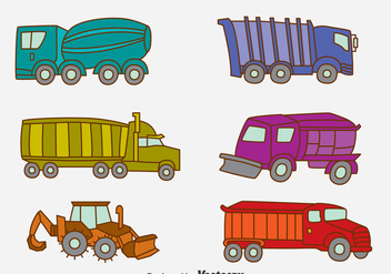 Hand Drawn Truck Collection Vector - vector gratuit #396703