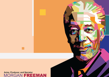 Morgan Freeman in Popart Portrait - Free vector #396803