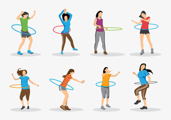 Fun Hula Hoop Kid Vectors - Free vector #396843