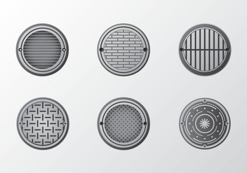 Metal manhole pattern vector pack - бесплатный vector #396863