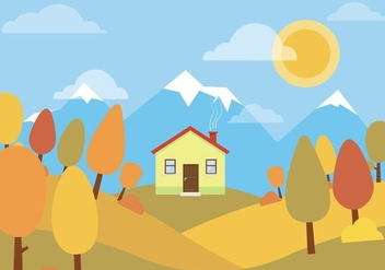 Vector Autumn Landscape - Free vector #396973