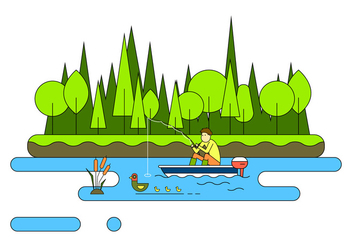 Lake Fishing Vector Illustration - бесплатный vector #396983