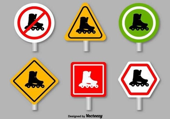 Roller Skates Prohibition Signs - Vector - vector gratuit #397043