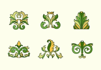 Acanthus outlined color floral vectors - vector gratuit #397183