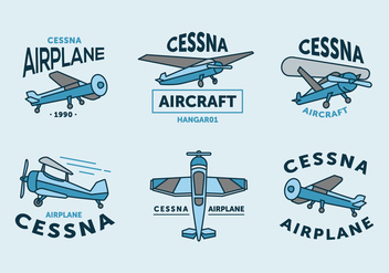 Vintage cessna logo vector pack - Free vector #397193