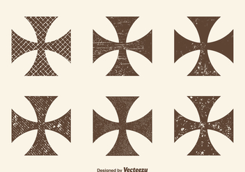 Free Grunge Maltese Cross Vector Set - бесплатный vector #397243