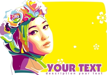 Flower Girl in Popart Portrait - Free vector #397293