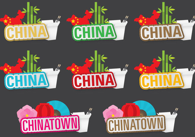China And Chinatown Titles - Kostenloses vector #397413