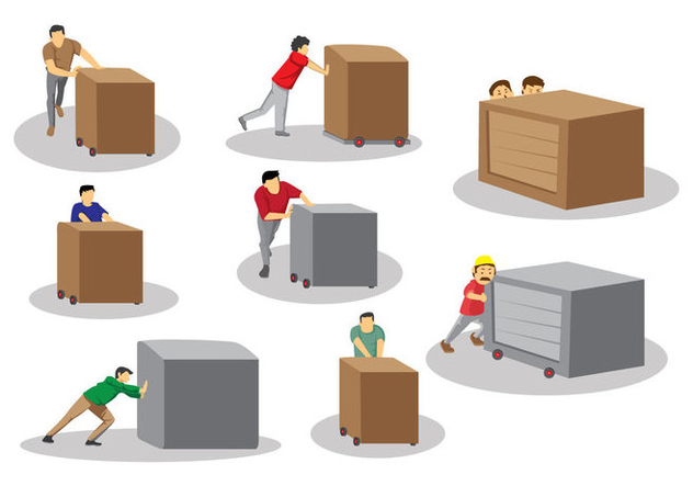 Man Pushing Box Vectors - vector gratuit #397473
