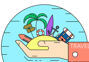 Island Travel Illustration - vector gratuit #397673