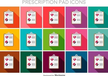 Prescription Pad Flat Color Vector Icons - Free vector #397893