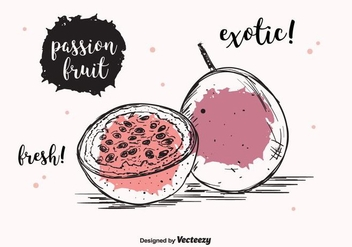 Passion Fruit Vector Background - бесплатный vector #397903