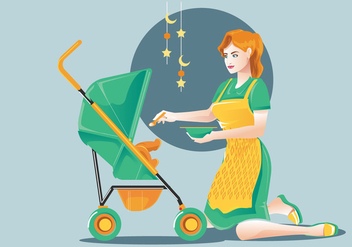 Babysitter or Mom and Child Vector - vector gratuit #397973