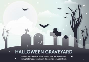 Dark Halloween Graveyard Vector Illustration - Free vector #397993