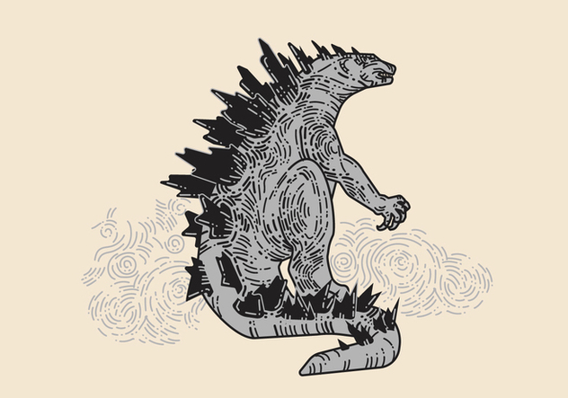 Hand Drawn Godzilla Vector - бесплатный vector #398153