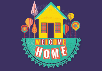 Retro Stitched Welcome Home - бесплатный vector #398163