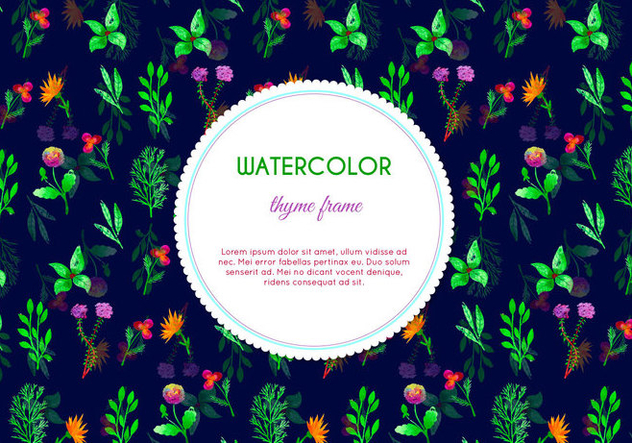 Dark Watercolor Thyme Flowers Vector - Free vector #398203