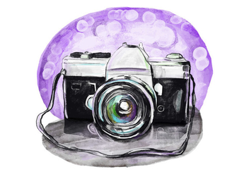 Free Vintage Camera Watercolor - бесплатный vector #398213