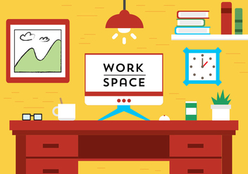 Free Flat Design Vector Work Space - vector gratuit #398243