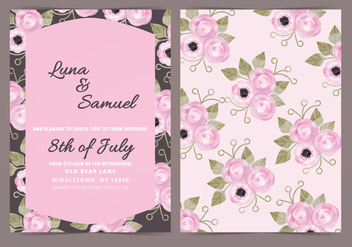 Vector Dark Floral Wedding Invite - vector #398283 gratis