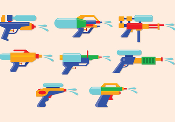 Water Gun Vector Icons - бесплатный vector #398443