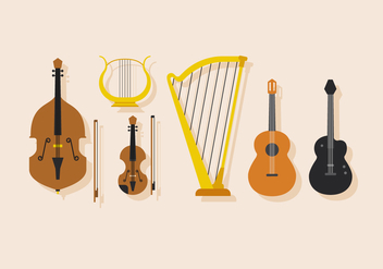 Vector Stringed Musical Instrument - vector gratuit #398463