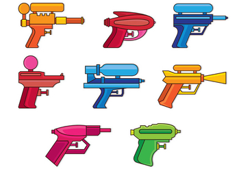 Set Of Water Gun Icons - Free vector #398543