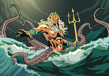 Poseidon Comes Out From The Sea - Kostenloses vector #398613