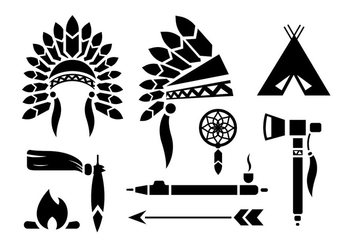 Indian Headdress Vector Set - бесплатный vector #398663