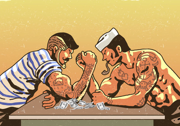 Arm Wrestling Match - vector gratuit #398733