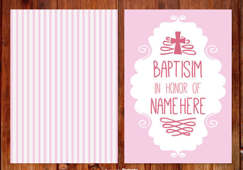 Stripe Baptisim Card for Girl - vector gratuit #398743