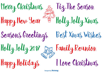 Hand Drawn Christmas Lettering - vector gratuit #398763