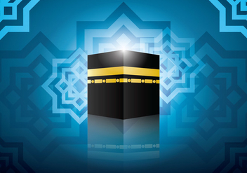 Ka'bah with Blue Background Vector - Free vector #398813