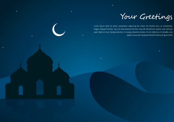 Arabian Night Mosque And Desert Greetings Template - Free vector #398823