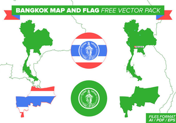 Bangkok Map And Flag Free Vector Pack - vector gratuit #398933