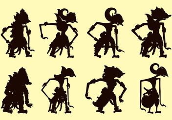 Set Of Wayang Silhouettes - Free vector #399093