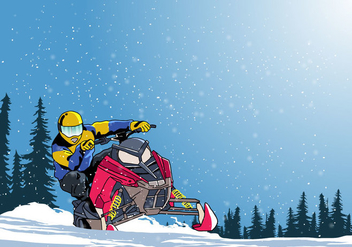 Man On Snowmobile Vector - Free vector #399123