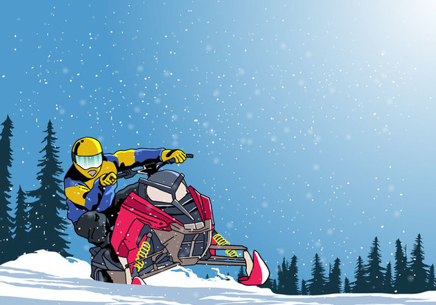 Man On Snowmobile Vector - vector gratuit #399123