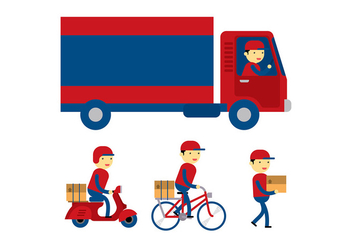 Delivery Man Flat Vector - Free vector #399243