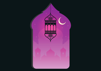 Arabian Night Mosque with Window Illustration - vector #399333 gratis