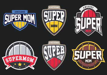 Super Mom Badge - Free vector #399433