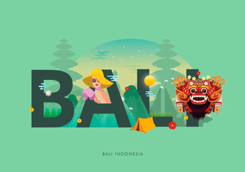 Barong Bali Typography Illustration - бесплатный vector #399623
