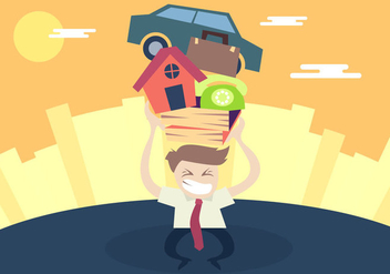 Man Pushing Stress Illustration Vector - Free vector #399983