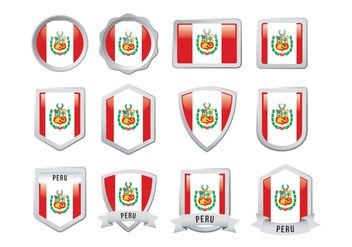 Free Peru Flag Badge - бесплатный vector #400363