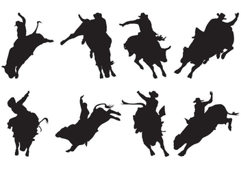 Free Bull Rider Silhouettes Vector - Free vector #400433