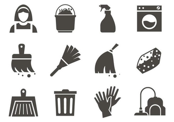 Free Maid Service Cleaning Icons Vector - vector gratuit #400643